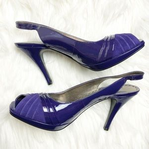 New Gianni Bini leather peep toe sling back heels